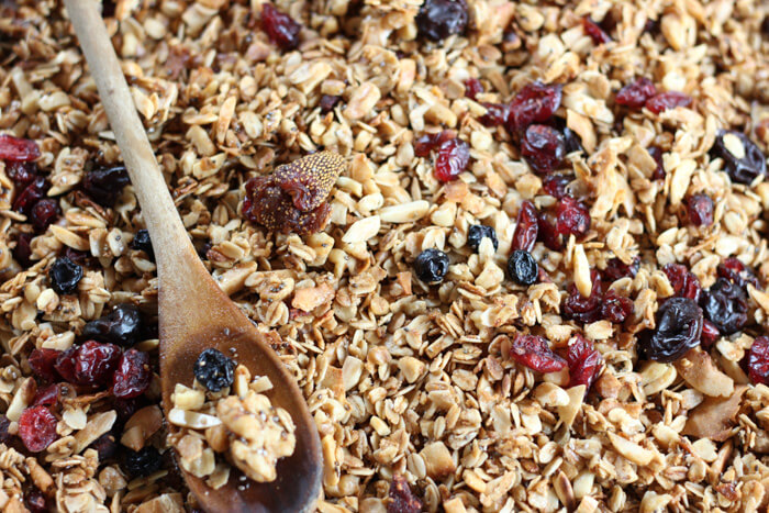 Tasty Everything Granola - A hearty granola loaded with walnuts, almonds, an assortment of dried berries and infused with coconut, maple syrup, and cinnamon. Perfect for snacking, on its own with milk, or for added protein serve over yogurt. | passmesomtasty.com
