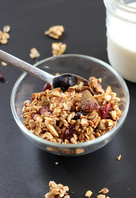 A bowl of tasty everything granola.