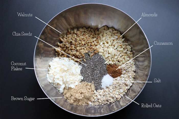Ingredients for Tasty Everything Granola shown in a bowl.