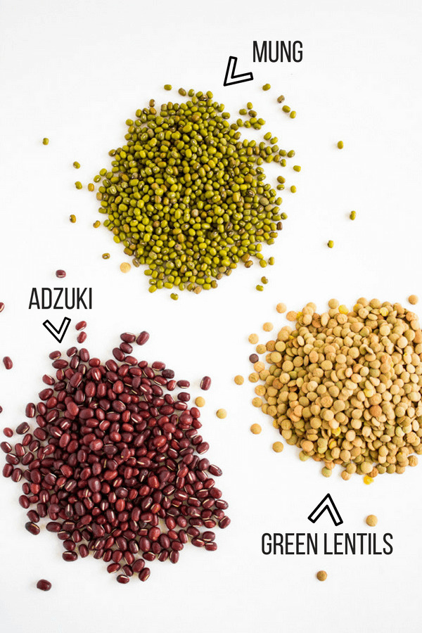 Three types of beans on a white counter are identified: adzuki, mung, and lentil.