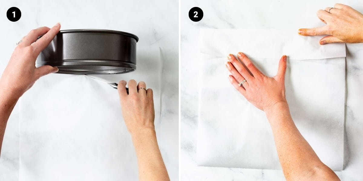 Strips of parchment paper are being measured by using the side of a springform pan as a guide.