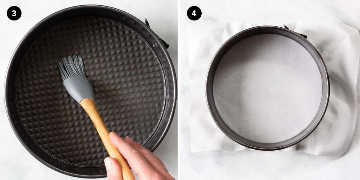 Brushing coconut oil onto the pan then the bottom of the springform pan is lined with parchment paper.