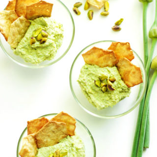 5 Minute Green Garlic Dip - A healthy, creamy, garlicky dip that can be made in less than 5 minutes! Perfect for snacking with crackers, chips, or raw veggies. | passmesometasty.com