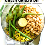 Garlic scares, white beans, pistachios, salt and lemon are put into a food processor to make creamy green garlic dip.