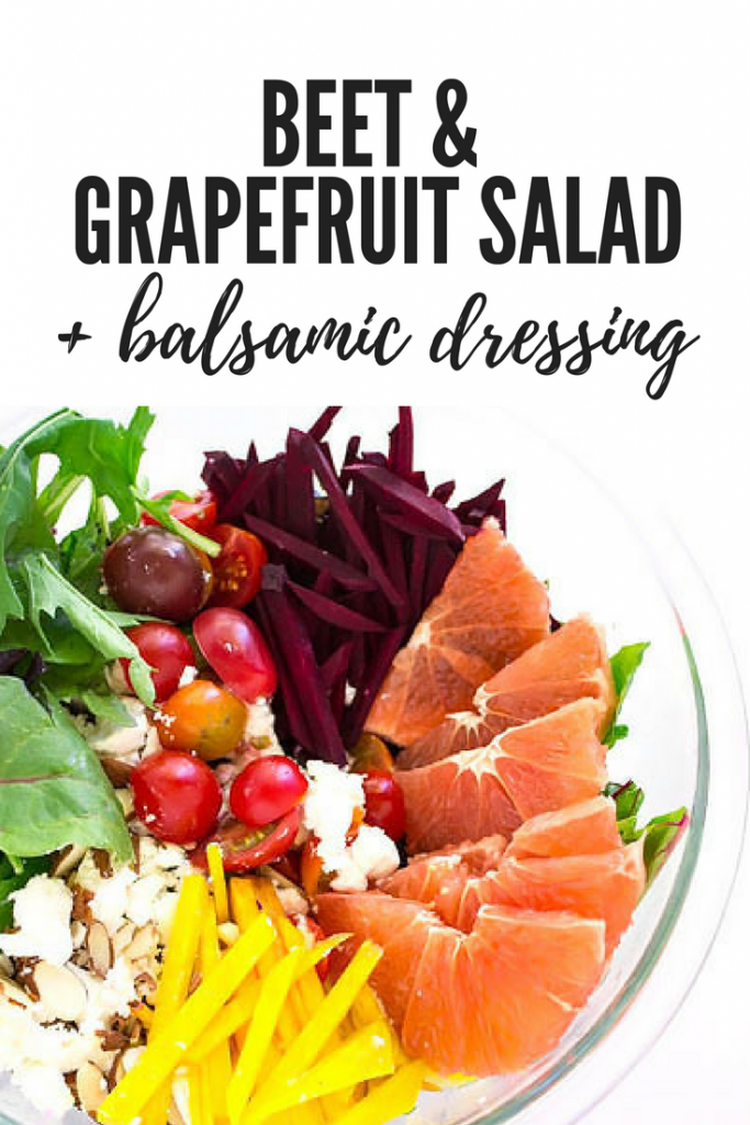 Beet & Grapefruit Salad + Balsamic Dressing - Eat the colors of the rainbow in this satisfying salad loaded with fresh grapefruit, red and golden beets, sweet cherry tomatoes, creamy goat cheese, almonds, and leafy greens. | passmesometasty.com