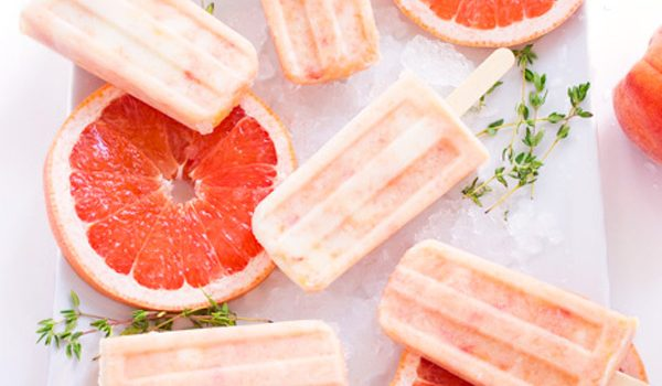 Grapefruit Peach Popsicles with Maple + Thyme