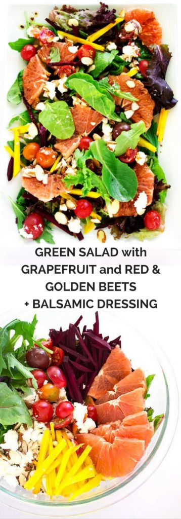 Green Salad with Grapefruit and Red & Golden Beets + Balsamic Dressing - A super healthy and gorgeously delicious salad that is quick and easy to prepare! | passmesometasty.com