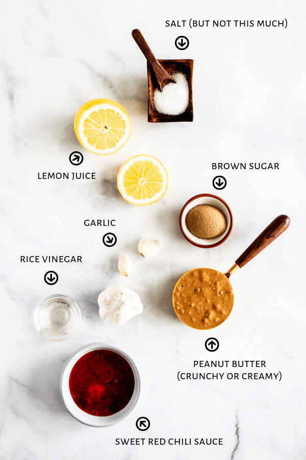 A display of ingredients that are used to make a quick and easy 5-Minute Peanut Sauce.