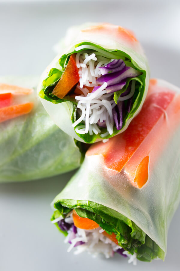 A close-up view of the insides of the a vegan salad spring roll.
