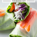 Three Vegan Salad Spring rolls loaded with with a variety of fresh, colorful vegetables.