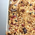 A baking sheet with freshly baked granola.