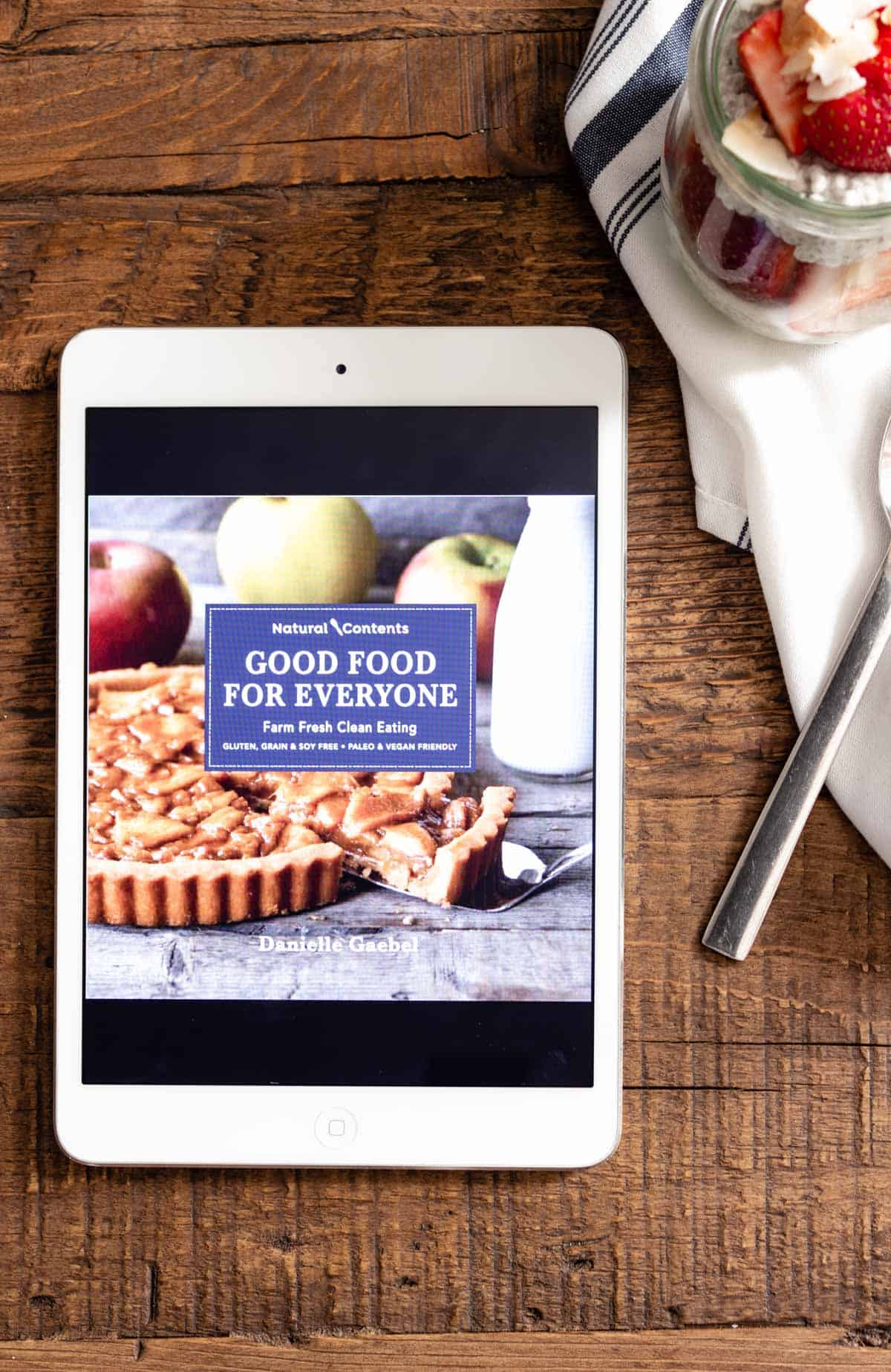 An iPad displaying an e-cookbook.