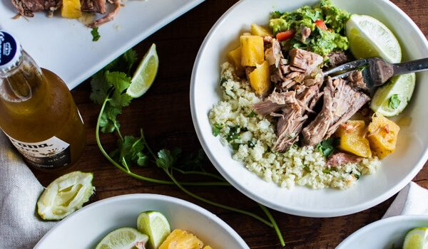 Slow Cooker Pineapple Pulled Pork with Cauliflower Rice + Guacamole
