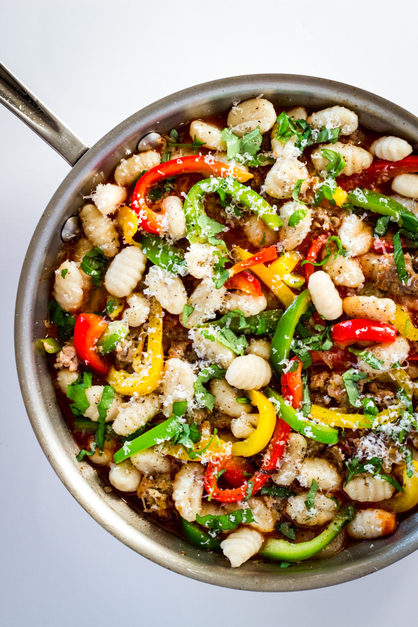 Gnocchi Marinara with Sausage & Peppers - Gluten free gnocchi tossed with sautéed Italian chicken sausage, onions, peppers, and garlic marinara for a slightly spicy & satisfying 20-minute meal! | passmesometasty.com