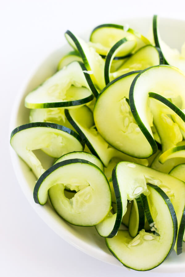 A bowl of spiralized cucumbers.