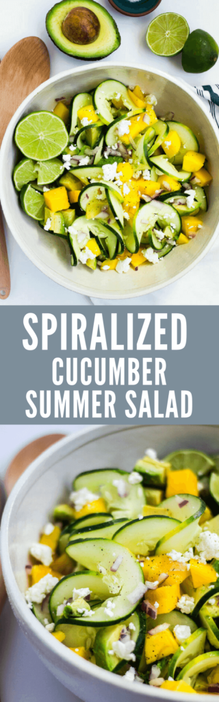 Spiralized Cucumber Summer Salad - A cool and refreshing spiralized cucumber salad with mango, avocado, lime, and soft goat cheese. Perfect on a hot summer day for lunch or dinner. Serves 2 as a main or 4 as a side dish. | passmesometasty.com