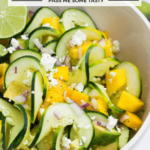 Chunks of mango, avocado, and soft goat cheese are tossed with spiralized cucumber and lime.