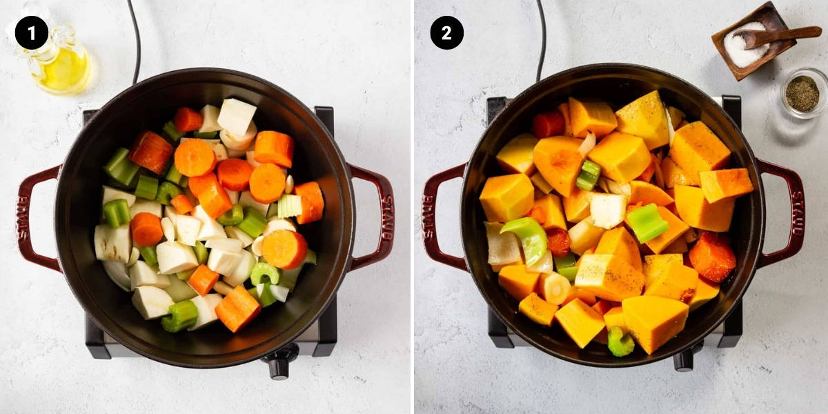 Veggies are added to a pot.