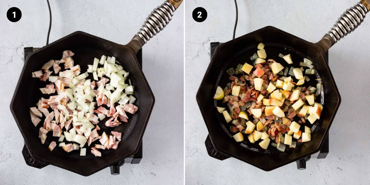 Bacon and onion are sautéed in a cast iron skillet.
