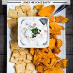 Smoked salmon dip with dill and capers served with almond crackers and sweet potato chips.