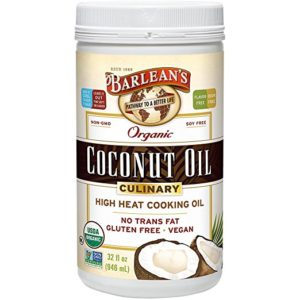 A 32 oz. container of Barlean's Organic Culinary Coconut Oil