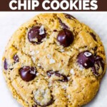 A large cookie loaded with chocolate chips.