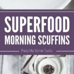 A large plate of superfood morning scuffins. Two smaller plates with a scuffin each and a mug with a hot morning beverage nearby.