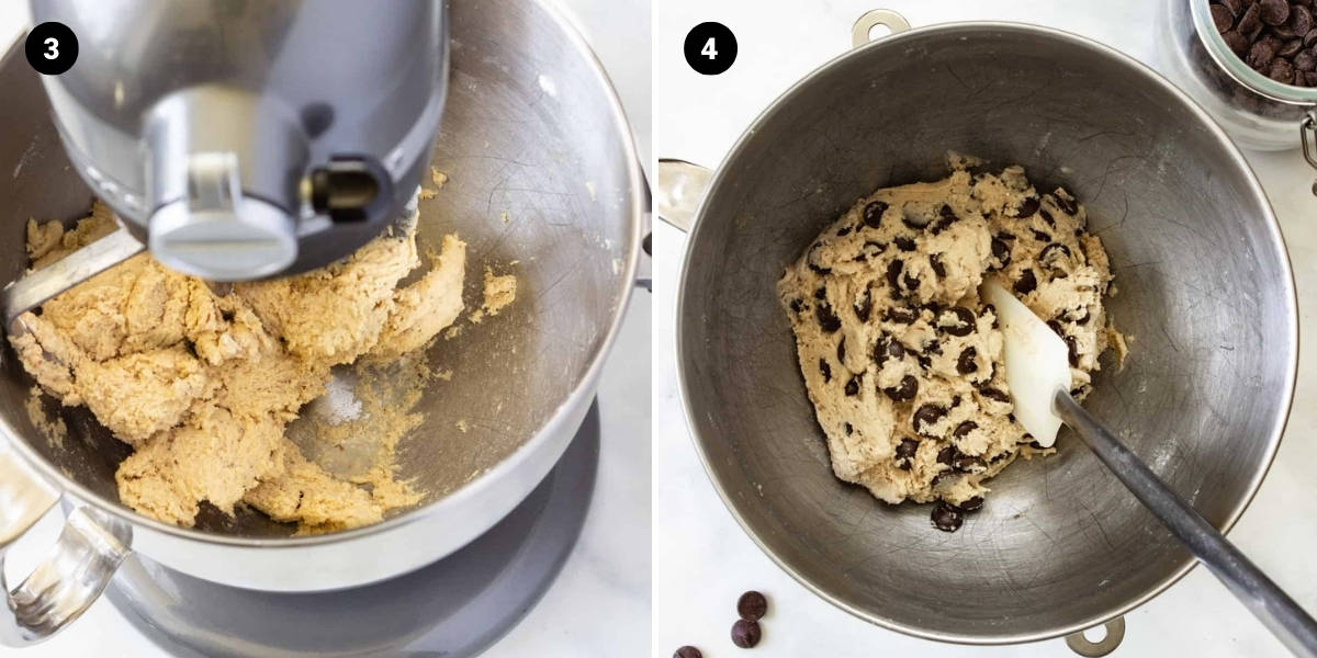 Gluten-free flour is added and mixed in. Chocolate chips are stirred into the dough.