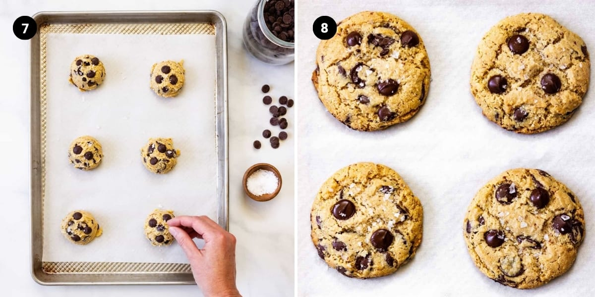 Flaked sea salt is sprinkled on top of each cookie dough mound. The cookies are baked.