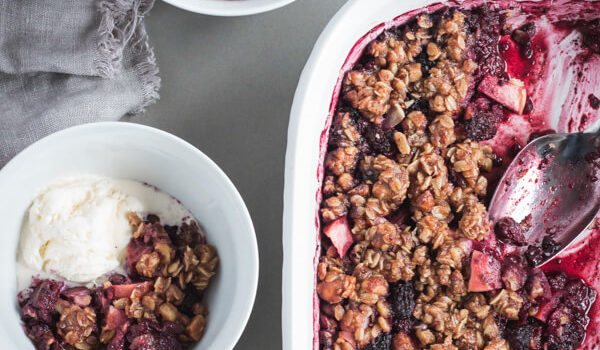 Healthier Blackberry Apple Hazelnut Crisp