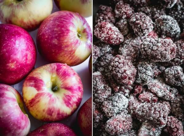 A close-up photo of Honeycrisp apples and a close-up photo of frozen Oregon blackberries.
