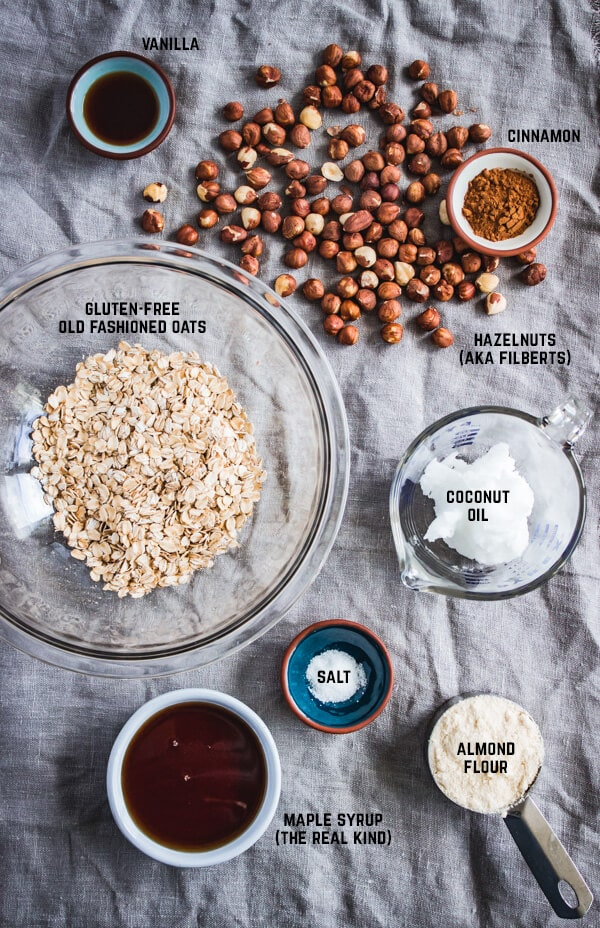 A layout of all the ingredients for the blackberry apple hazelnut crisp topping.