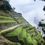 Ancient Incan stone terraces along a cliffside.