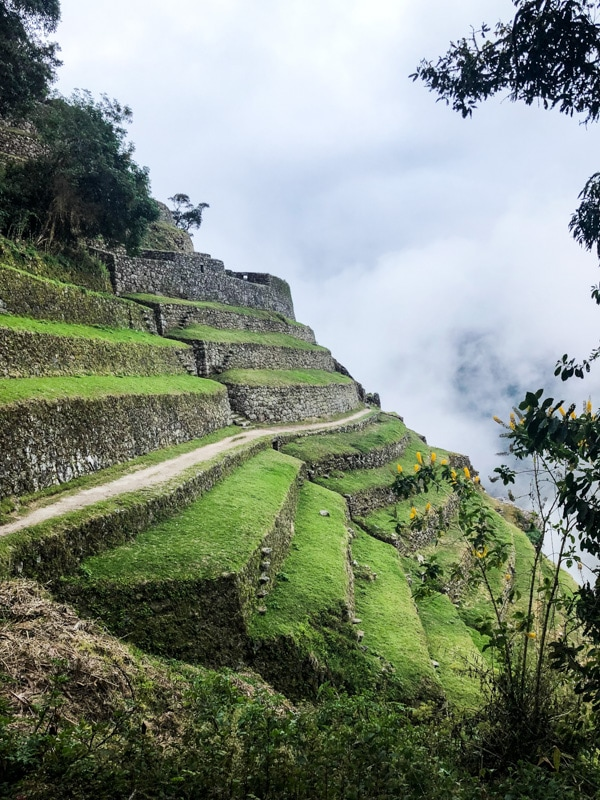 Ancient Incan stone terraces along a cliffside.