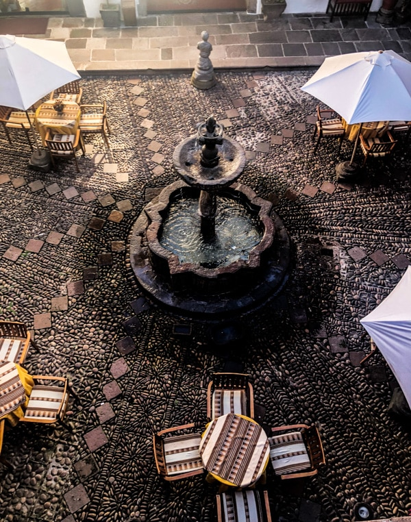 Overlooking the open air courtyard within the hotel. A great spot to enjoy the full breakfast brunch they serve each morning.