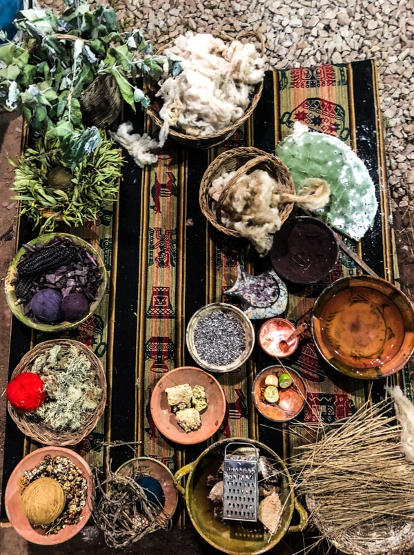 Different natural elements the Quechua use for dying fibers and fabrics.