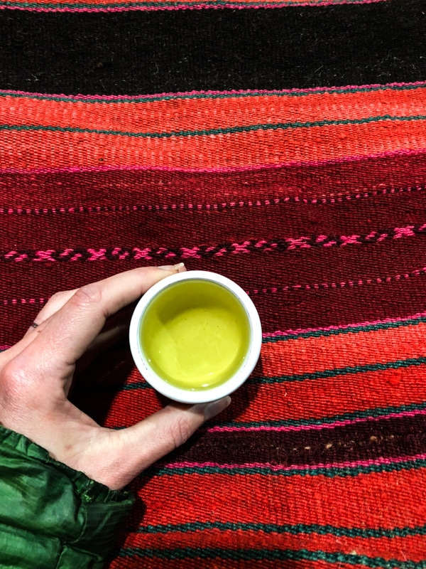 Holding a cup of Coca Tea on a striped bright red woven Peruvian.