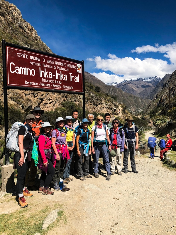 Our tour group standing at the entrance of Inca Trail.