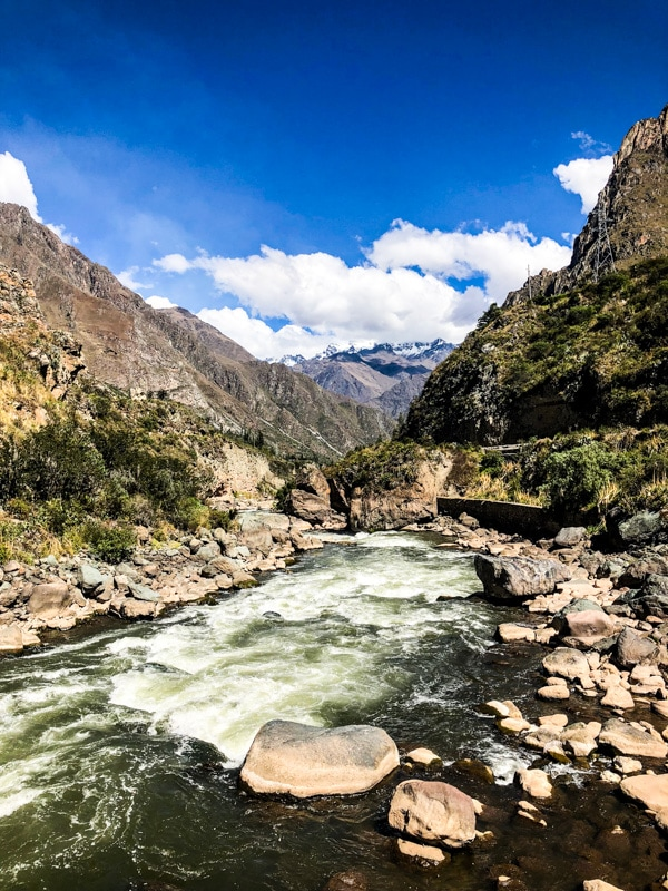 A river running through The Sacred Valley along the Inca Trail.