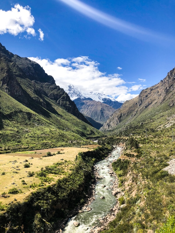 A beautiful view of a river running through The Sacred Valley in Peru.