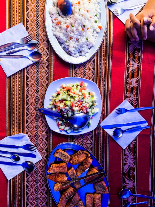 Cornmeal encrusted trout, veggie salad, and rice on top of a decorative Peruvian tablecloth.