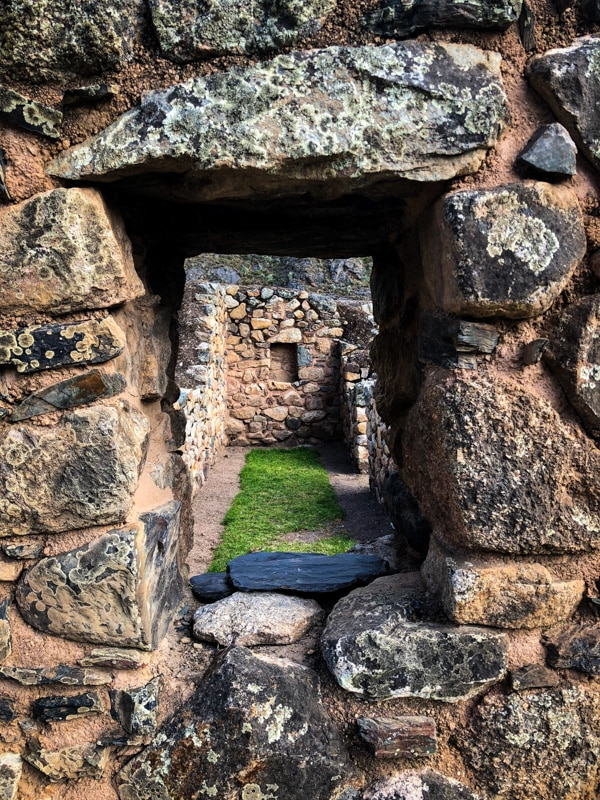 Looking through the windows of ancient Incan ruins.