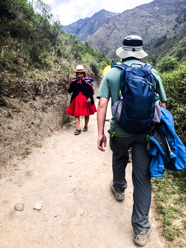 On the Inca Trail a Quechua woman passes us.