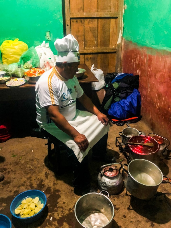 Braulio, our talented chef, cooking dinner for our group.
