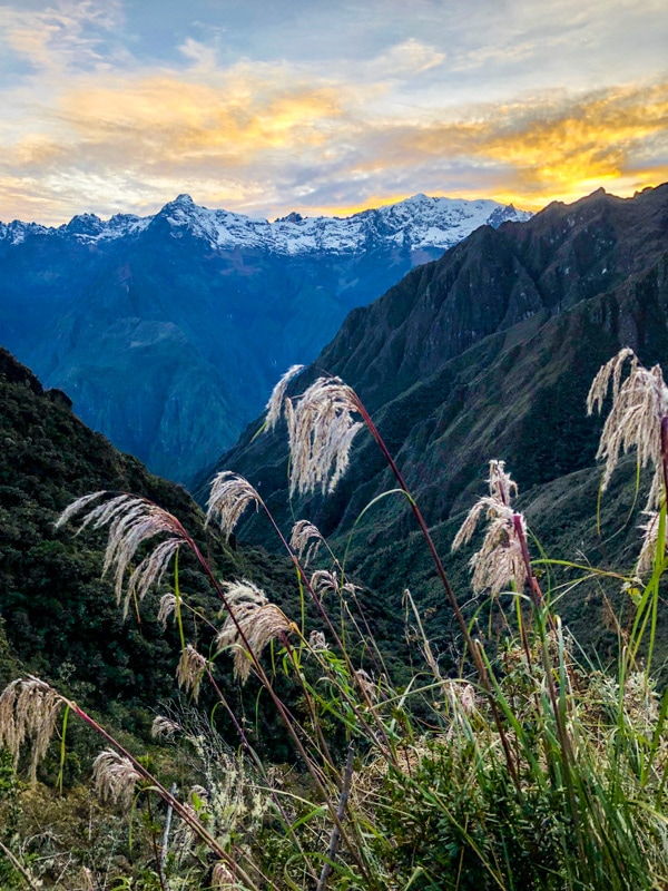 A beautiful sunrise ascending behind the Andes mountain range.