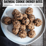 A white plate with a stack of no bake oatmeal cookie energy bites.