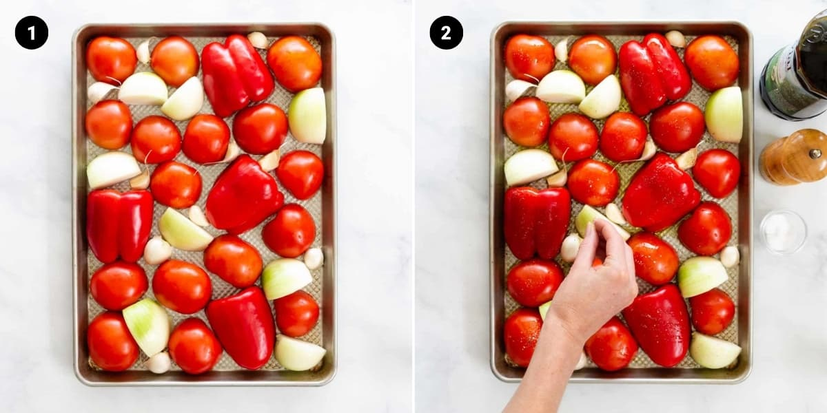 Cut vegetables are laid out on a baking sheet, drizzled with olive oil and sprinkled with salt and pepper.