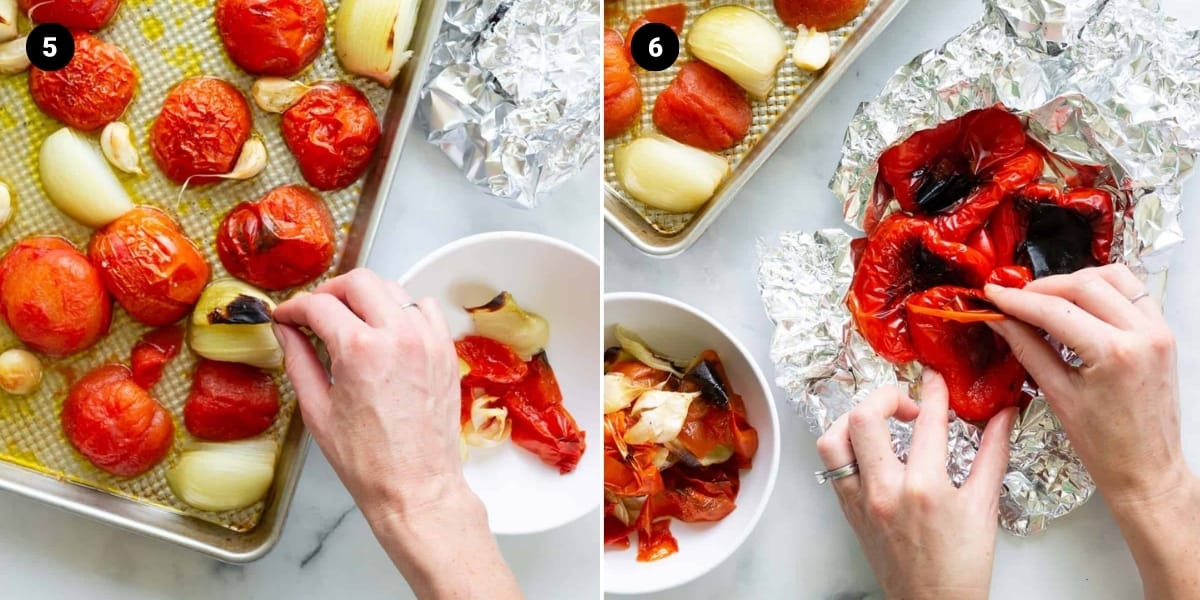 Outer skins of the tomatoes, onions, garlic, and red peppers are removed.