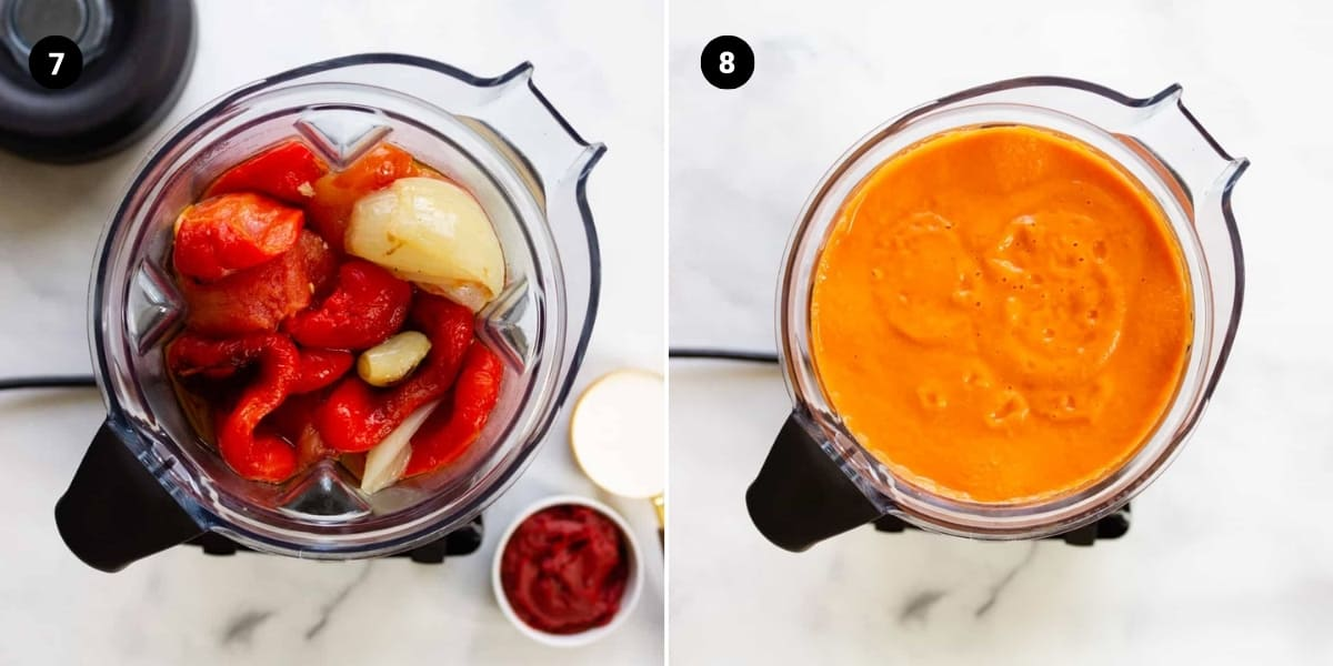 Veggies, tomato paste, and cream are placed in a food processor and then processed.