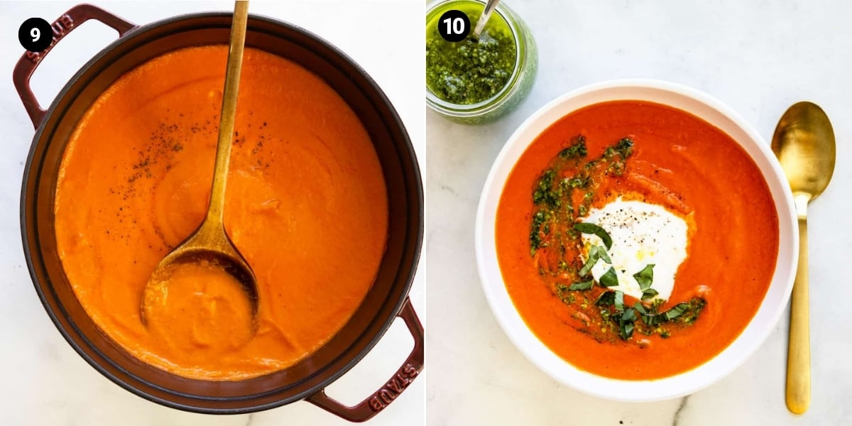 Soup simmers in a pot allowing the flavors to meld; soup is served with burrata, pesto, and fresh basil.